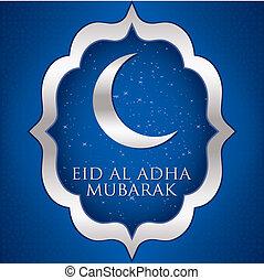 Eid Al Adha - Crescent moon Eid Al Adha card in vector ...
