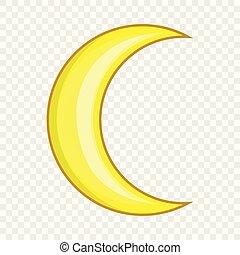 Crescent moon icon, cartoon style