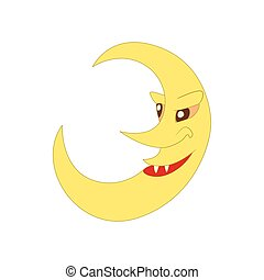 Crescent moon icon in cartoon style
