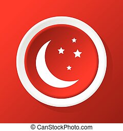 Crescent moon icon on red