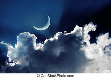 Crescent moon in a beautiful night sky