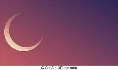 crescent moon in blue violet night sky