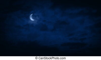 Crescent Moon In Night Sky - Crescent moon in the night sky