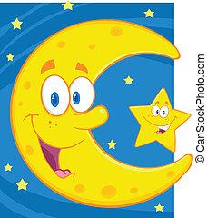 crescent moon, och, litet, stjärna
