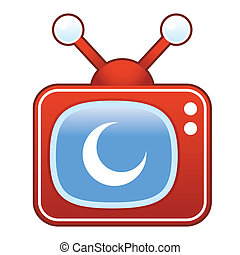 Crescent moon on retro television