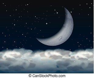 crescent moon, ovanför, den, moln