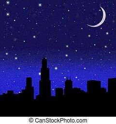Crescent Moon over a city - Black night sky plenty of stars ...