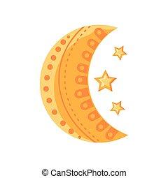 crescent moon ramadan on white background