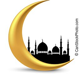 Crescent Moon Ramadan - Shiny crescent moon with mosque...