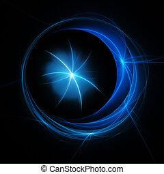 crescent moon star rays on dark background