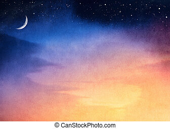 Crescent Moon Sunset - A fantasy sunset with a dark blue to...