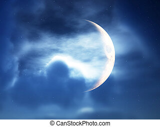 Crescent Moon Through Clouds - A crescent moon in a cloudy...
