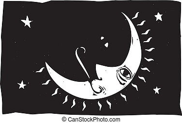 Crescent Moon - Simple woodcut image of a crescent moon with...