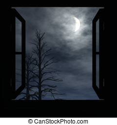 Crescent Moon Window - Window open to cloudy night. Trees...