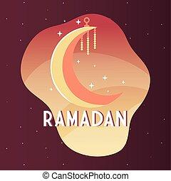 crescent moon with label ramadan