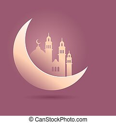 Crescent Moon With Mosque Silhouette Islamic Background