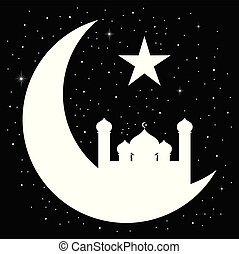 Crescent moon with mosque silhouette