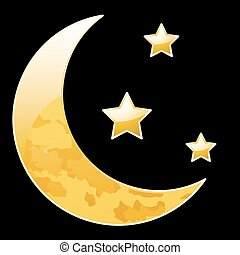 Crescent moon with stars on a black