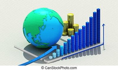 crescente, chart., monete, e, terra