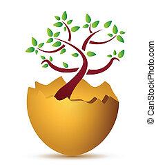 crescente, concetto, albero, illustrazione