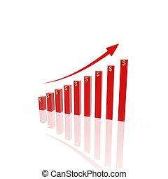 crescente, grafico, affari, 3d