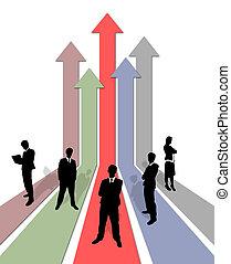 crescente, grafico, squadra affari