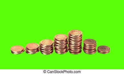 crescente, monete, su, uno, sfondo verde