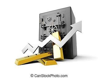 crescente, oro, deposito