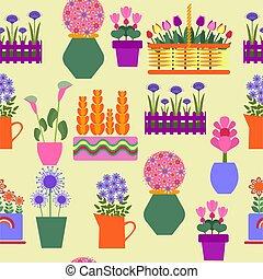 crescente, pots., giardino, piante, decorativo