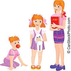 crescente, ragazze, cartone animato