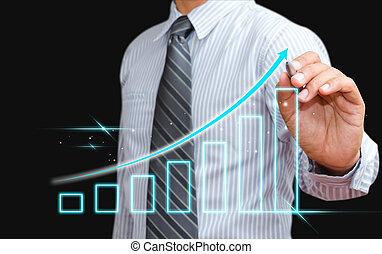 crescente, uomo, grafico, affari, disegno