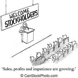 crescente, vendite, azionisti, impazienza, utili