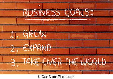 crescere, espandere, affari, goals:, sopra, elenco,...