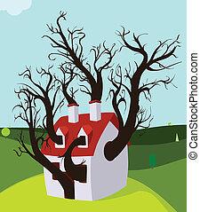 crescido, casa, dentro, árvore
