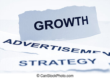 crescimento, anúncio, estratégia, conceito