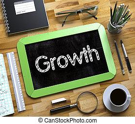 crescimento, conceito, ligado, pequeno, chalkboard., 3d.