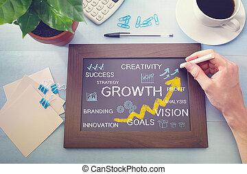 crescimento, conceitos, desenhado, ligado, um, chalkboard