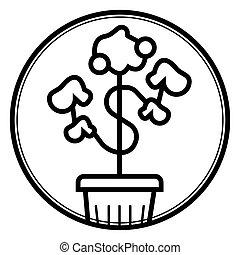 crescimento, dinheiro, ícone