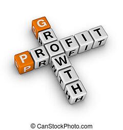 crescimento, e, lucro