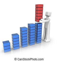 crescimento financeiro, desempenho, e, sucesso
