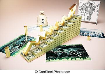 crescimento financeiro, ligado, forex, mapa