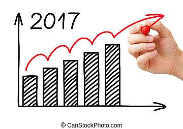 crescimento, gráfico, 2017, marcador, conceito