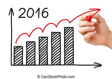 crescimento, gráfico, ano, 2016, conceito