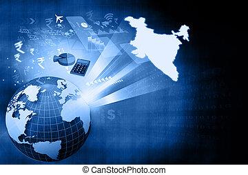crescimento, indianas, financeiro, economia
