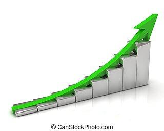 crescimento negócio, e, a, verde, seta