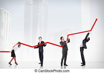 crescimento negócio, e, sucesso, gráfico