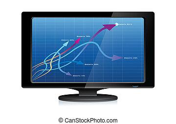 crescimento, setas, em, tv