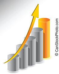 crescita affari, illustrazione, disegno