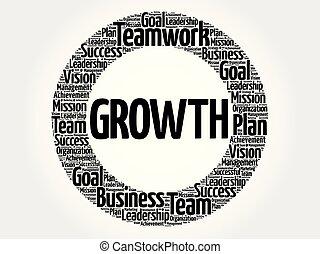 crescita, cerchio, parola, nuvola