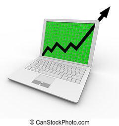 crescita, computer, freccia, laptop